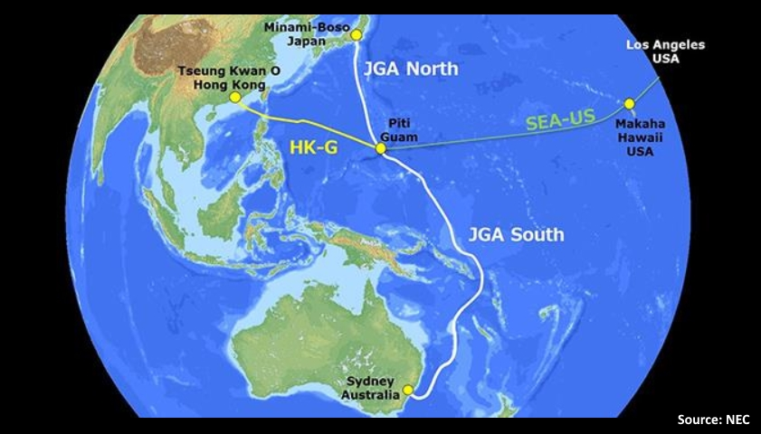 Route map for the Japan-Guam-Australia Cable System (JGA)
